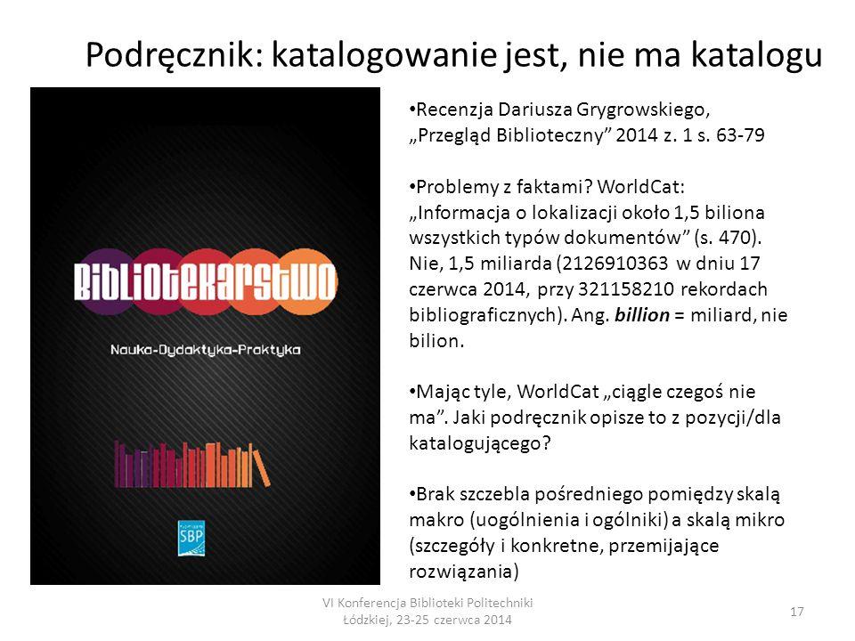 """VI Konferencja Biblioteki Politechniki Łódzkiej, 23-25 czerwca 2014 17 Podręcznik: katalogowanie jest, nie ma katalogu Recenzja Dariusza Grygrowskiego, """"Przegląd Biblioteczny 2014 z."""
