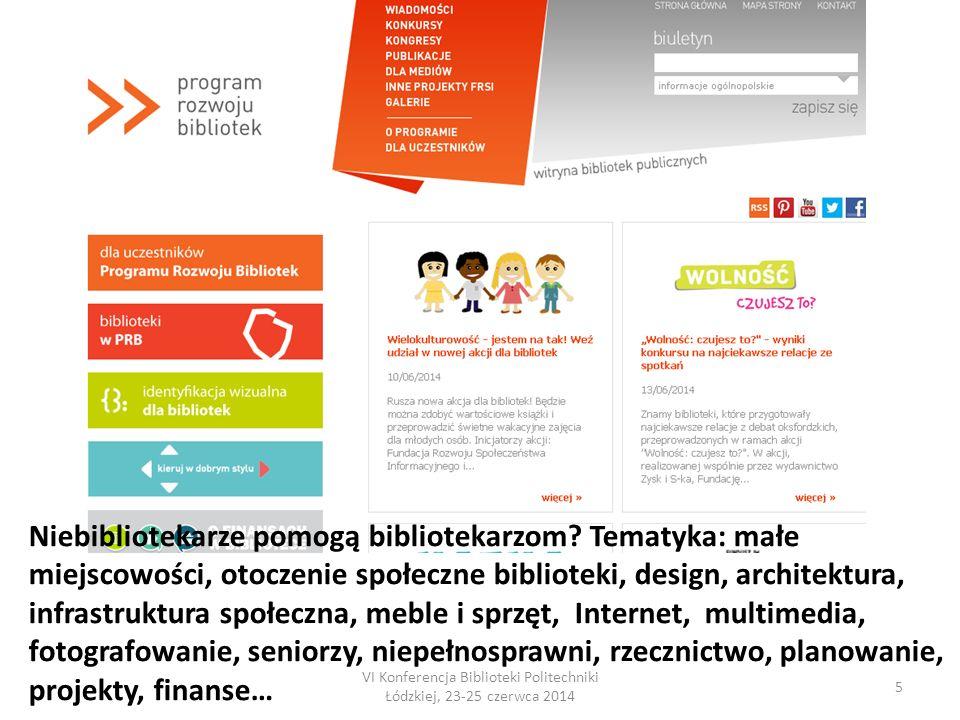 VI Konferencja Biblioteki Politechniki Łódzkiej, 23-25 czerwca 2014 5 Niebibliotekarze pomogą bibliotekarzom.