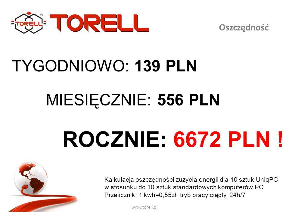 www.torell.pl Oszczędność TYGODNIOWO: 139 PLN MIESIĘCZNIE: 556 PLN ROCZNIE: 6672 PLN ! Kalkulacja oszczędności zużycia energii dla 10 sztuk UniqPC w s
