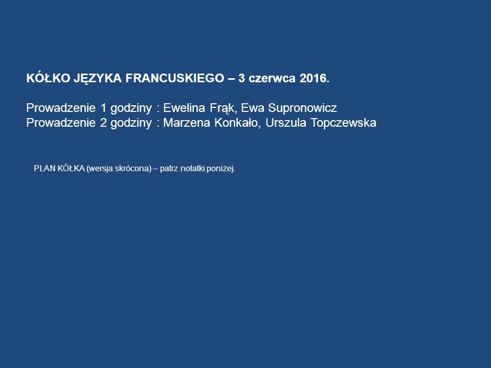 KÓŁKO JĘZYKA FRANCUSKIEGO – 3 czerwca 2016.
