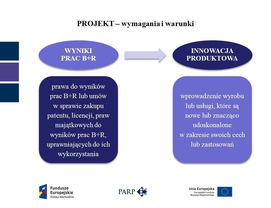 PROJEKT – wymagania i warunki WYNIKI PRAC B+R INNOWACJA PRODUKTOWA prawa do wyników prac B+R lub umów w sprawie zakupu patentu, licencji, praw majątkowych do wyników prac B+R, uprawniających do ich wykorzystania wprowadzenie wyrobu lub usługi, które są nowe lub znacząco udoskonalone w zakresie swoich cech lub zastosowań