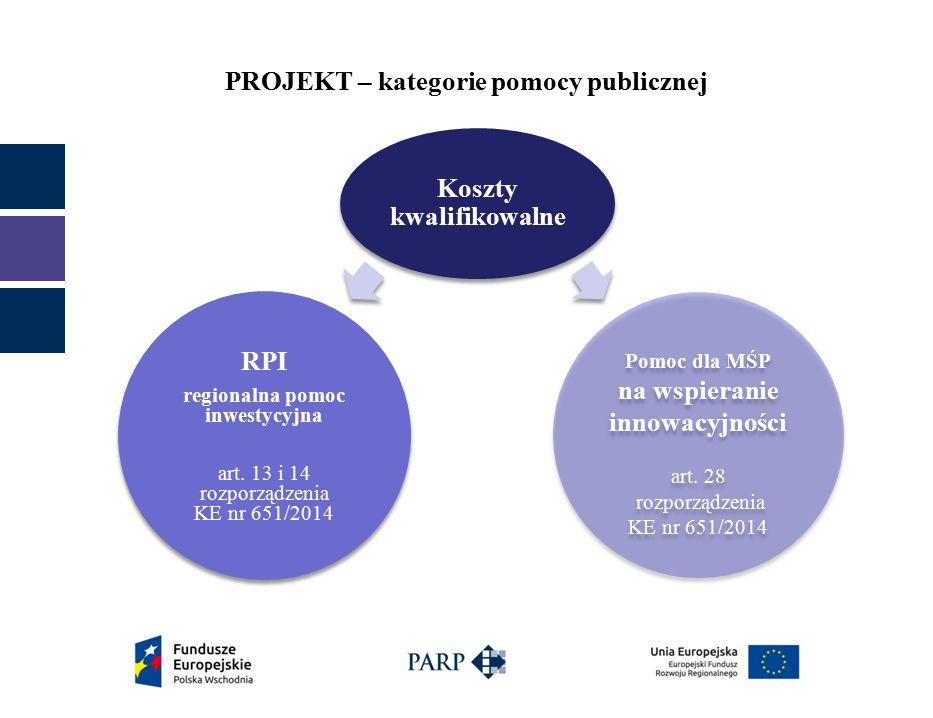 PROJEKT – kategorie pomocy publicznej Koszty kwalifikowalne RPI regionalna pomoc inwestycyjna art.