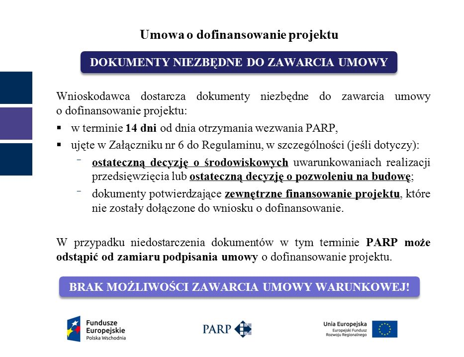 Wnioskodawca dostarcza dokumenty niezbędne do zawarcia umowy o dofinansowanie projektu:  w terminie 14 dni od dnia otrzymania wezwania PARP,  ujęte w Załączniku nr 6 do Regulaminu, w szczególności (jeśli dotyczy): ‾ ostateczną decyzję o środowiskowych uwarunkowaniach realizacji przedsięwzięcia lub ostateczną decyzję o pozwoleniu na budowę; ‾ dokumenty potwierdzające zewnętrzne finansowanie projektu, które nie zostały dołączone do wniosku o dofinansowanie.