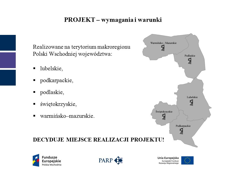 PROJEKT – wymagania i warunki  prowadzące do stworzenia innowacyjnych (przynajmniej na poziomie kraju) produktów (tj.