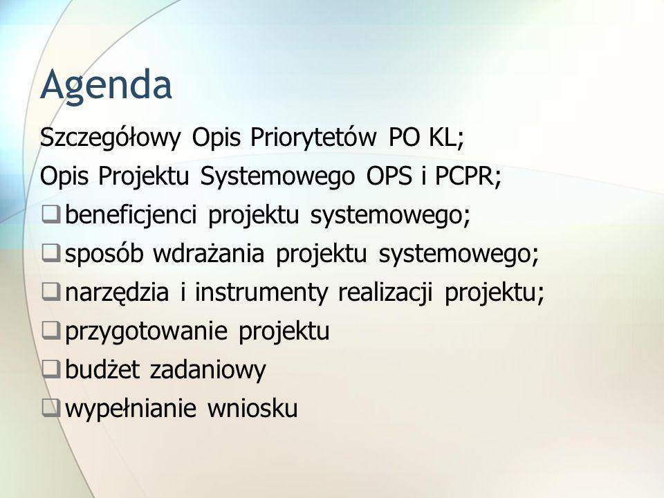 Agenda Szczegółowy Opis Priorytetów PO KL; Opis Projektu Systemowego OPS i PCPR;  beneficjenci projektu systemowego;  sposób wdrażania projektu systemowego;  narzędzia i instrumenty realizacji projektu;  przygotowanie projektu  budżet zadaniowy  wypełnianie wniosku