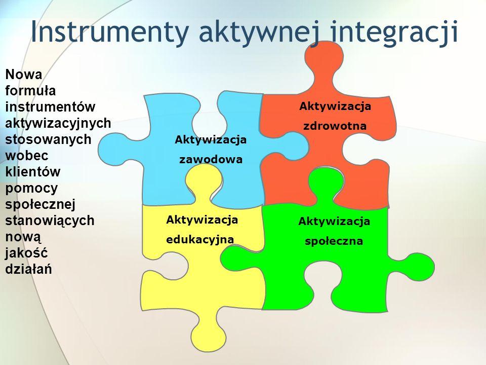 Aktywizacja zdrowotna Aktywizacja zawodowa Aktywizacja edukacyjna Aktywizacja społeczna Instrumenty aktywnej integracji Nowa formuła instrumentów aktywizacyjnych stosowanych wobec klientów pomocy społecznej stanowiących nową jakość działań