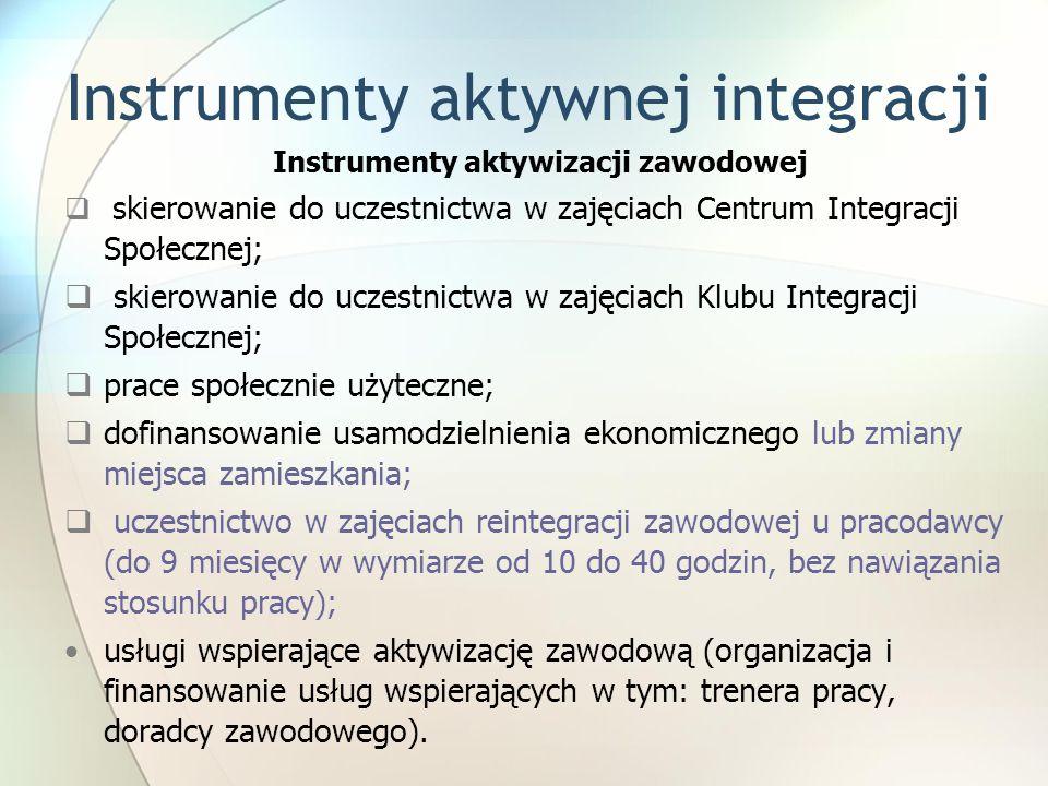 Instrumenty aktywnej integracji Instrumenty aktywizacji zawodowej  skierowanie do uczestnictwa w zajęciach Centrum Integracji Społecznej;  skierowanie do uczestnictwa w zajęciach Klubu Integracji Społecznej;  prace społecznie użyteczne;  dofinansowanie usamodzielnienia ekonomicznego lub zmiany miejsca zamieszkania;  uczestnictwo w zajęciach reintegracji zawodowej u pracodawcy (do 9 miesięcy w wymiarze od 10 do 40 godzin, bez nawiązania stosunku pracy); usługi wspierające aktywizację zawodową (organizacja i finansowanie usług wspierających w tym: trenera pracy, doradcy zawodowego).