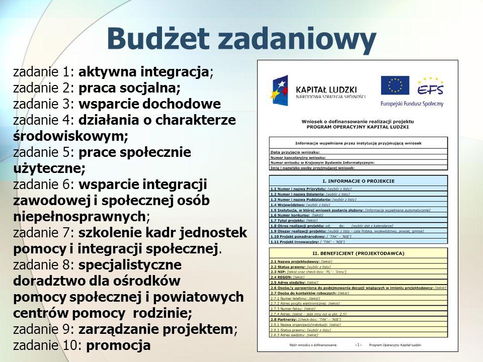 Budżet zadaniowy zadanie 1: aktywna integracja; zadanie 2: praca socjalna; zadanie 3: wsparcie dochodowe zadanie 4: działania o charakterze środowiskowym; zadanie 5: prace społecznie użyteczne; zadanie 6: wsparcie integracji zawodowej i społecznej osób niepełnosprawnych; zadanie 7: szkolenie kadr jednostek pomocy i integracji społecznej.