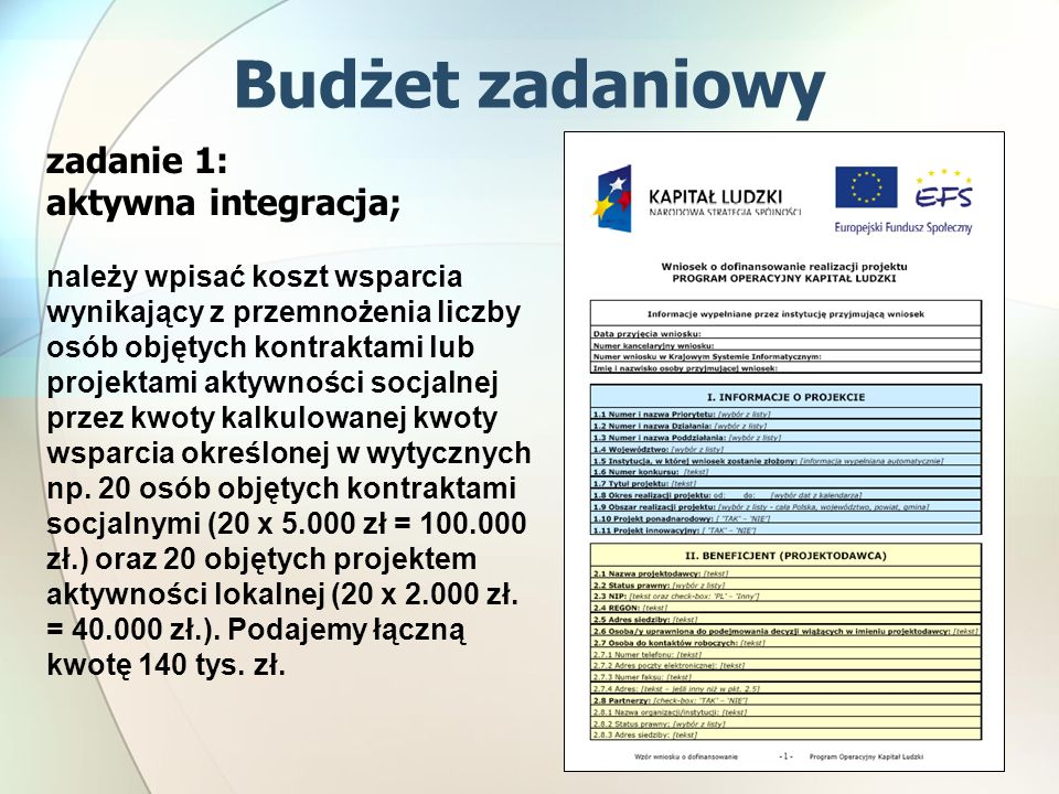 zadanie 1: aktywna integracja; należy wpisać koszt wsparcia wynikający z przemnożenia liczby osób objętych kontraktami lub projektami aktywności socjalnej przez kwoty kalkulowanej kwoty wsparcia określonej w wytycznych np.