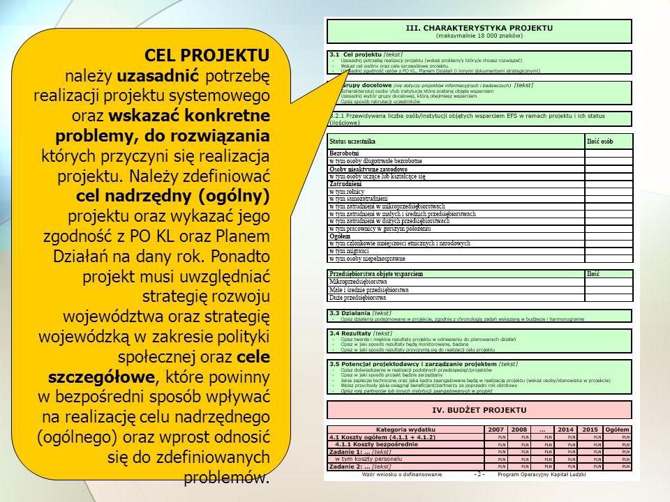 CEL PROJEKTU należy uzasadnić potrzebę realizacji projektu systemowego oraz wskazać konkretne problemy, do rozwiązania których przyczyni się realizacja projektu.