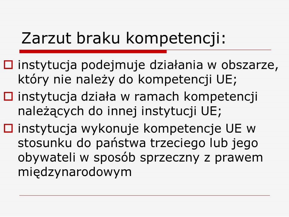 Zarzut braku kompetencji:  instytucja podejmuje działania w obszarze, który nie należy do kompetencji UE;  instytucja działa w ramach kompetencji na