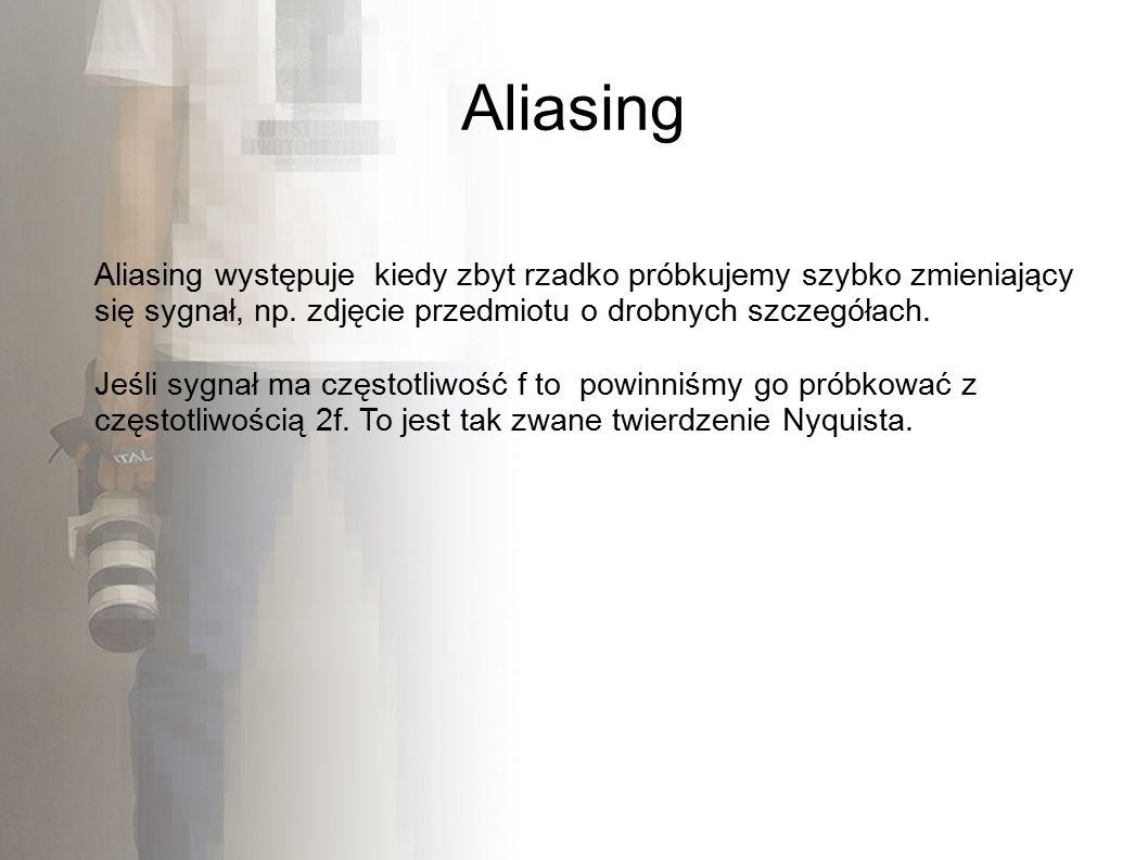 Aliasing Aliasing występuje kiedy zbyt rzadko próbkujemy szybko zmieniający się sygnał, np.
