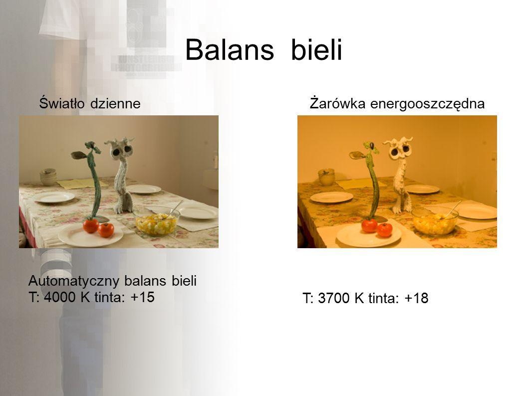 Balans bieli Automatyczny balans bieli T: 4000 K tinta: +15 Światło dzienneŻarówka energooszczędna T: 3700 K tinta: +18