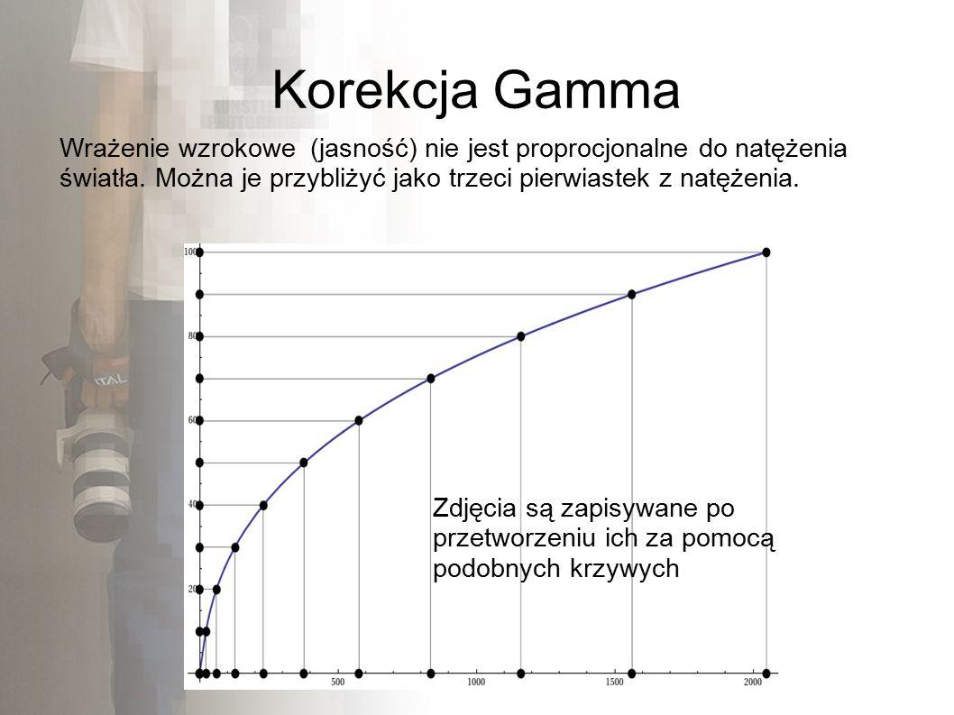 Korekcja Gamma Wrażenie wzrokowe (jasność) nie jest proprocjonalne do natężenia światła.