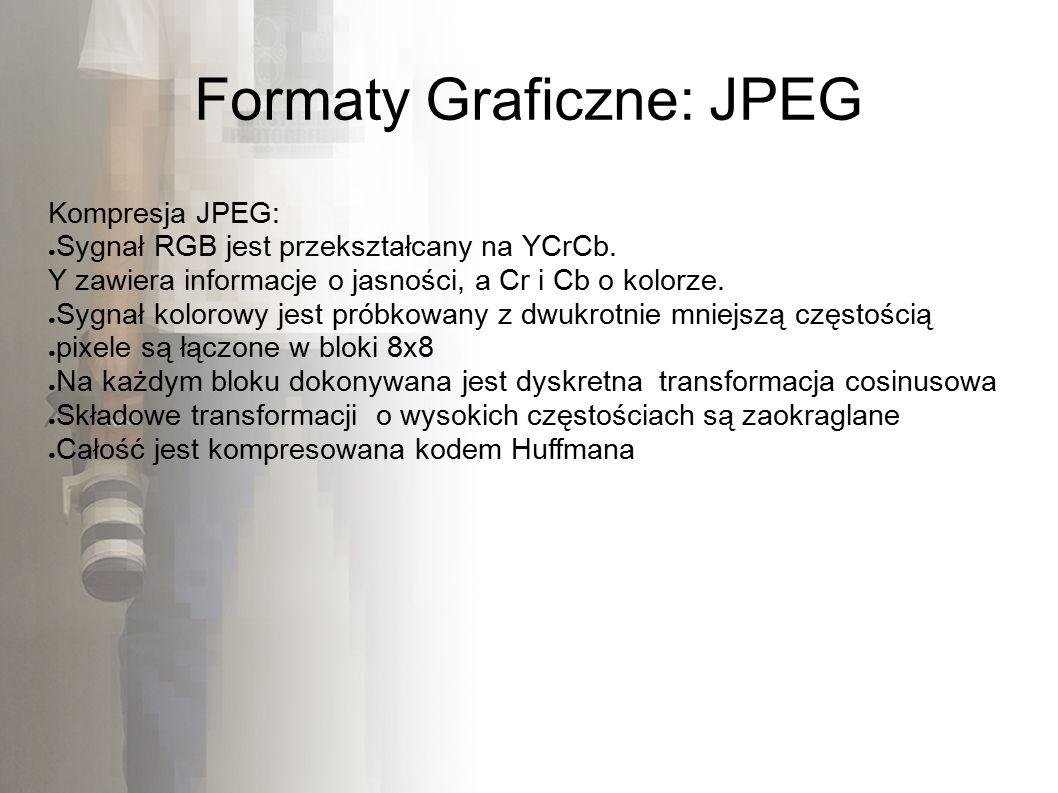 Formaty Graficzne: JPEG Kompresja JPEG: ● Sygnał RGB jest przekształcany na YCrCb.