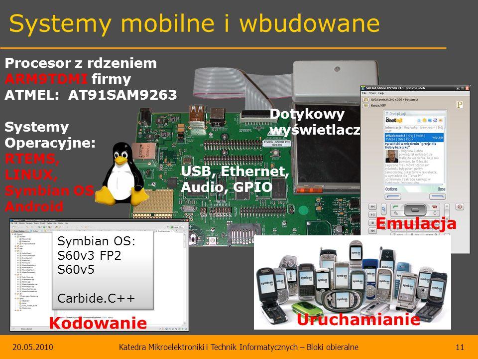 20.05.2010Katedra Mikroelektroniki i Technik Informatycznych – Bloki obieralne11 Systemy mobilne i wbudowane Procesor z rdzeniem ARM9TDMI firmy ATMEL: AT91SAM9263 Systemy Operacyjne: RTEMS, LINUX, Symbian OS, Android Dotykowy wyświetlacz USB, Ethernet, Audio, GPIO Symbian OS: S60v3 FP2 S60v5 Carbide.C++ Emulacja Uruchamianie Kodowanie