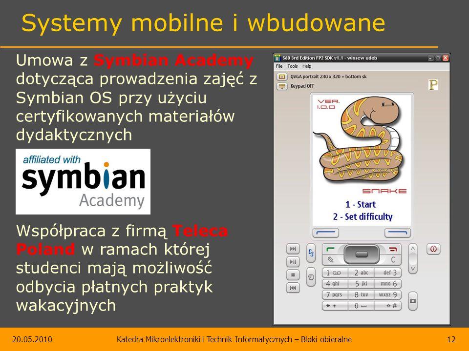 20.05.2010Katedra Mikroelektroniki i Technik Informatycznych – Bloki obieralne12 Systemy mobilne i wbudowane Umowa z Symbian Academy dotycząca prowadzenia zajęć z Symbian OS przy użyciu certyfikowanych materiałów dydaktycznych Współpraca z firmą Teleca Poland w ramach której studenci mają możliwość odbycia płatnych praktyk wakacyjnych
