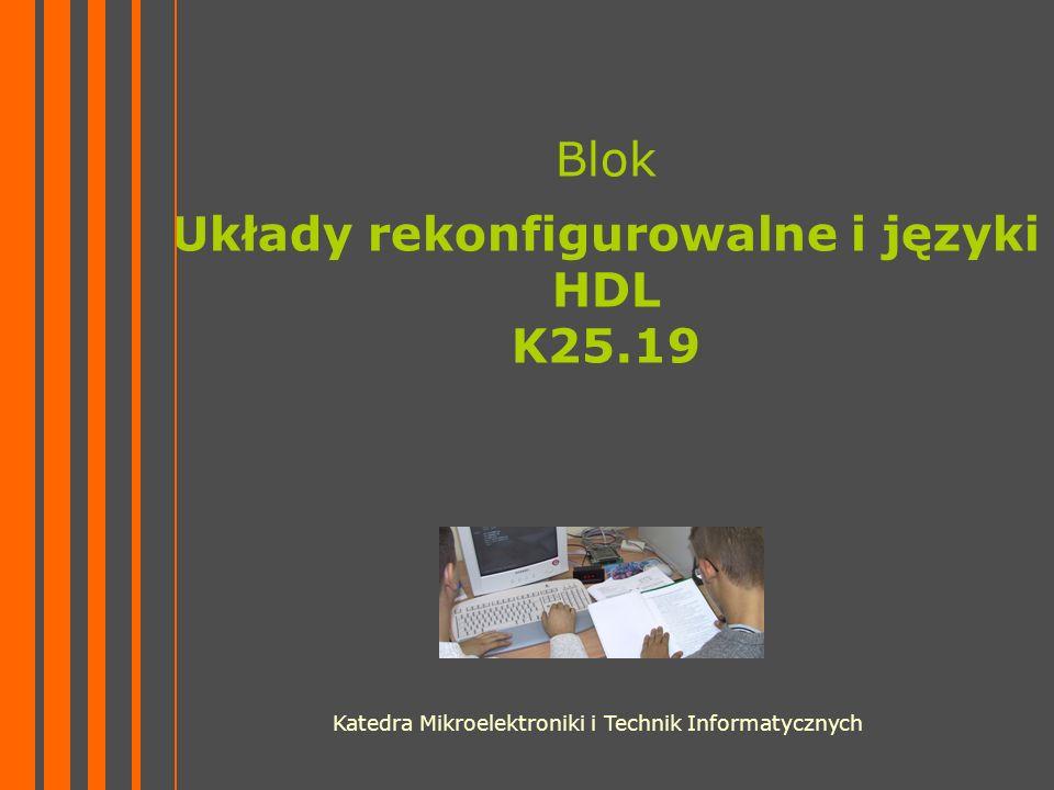 Blok Układy rekonfigurowalne i języki HDL K25.19 Katedra Mikroelektroniki i Technik Informatycznych