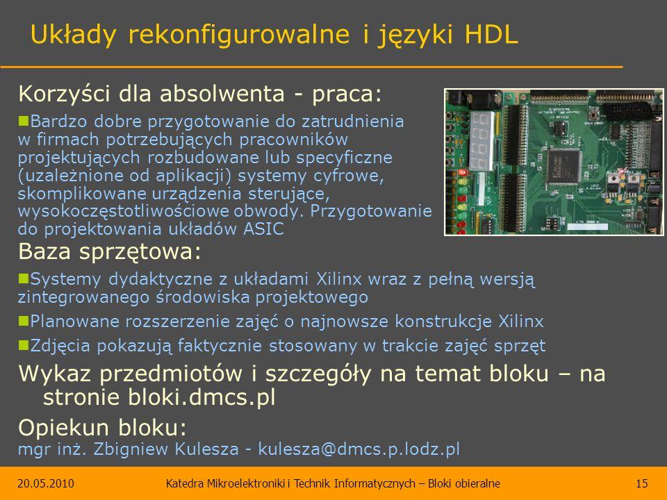 20.05.2010Katedra Mikroelektroniki i Technik Informatycznych – Bloki obieralne15 Układy rekonfigurowalne i języki HDL Korzyści dla absolwenta - praca: