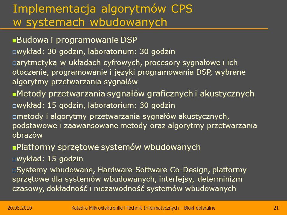 20.05.2010Katedra Mikroelektroniki i Technik Informatycznych – Bloki obieralne21 Implementacja algorytmów CPS w systemach wbudowanych Budowa i program