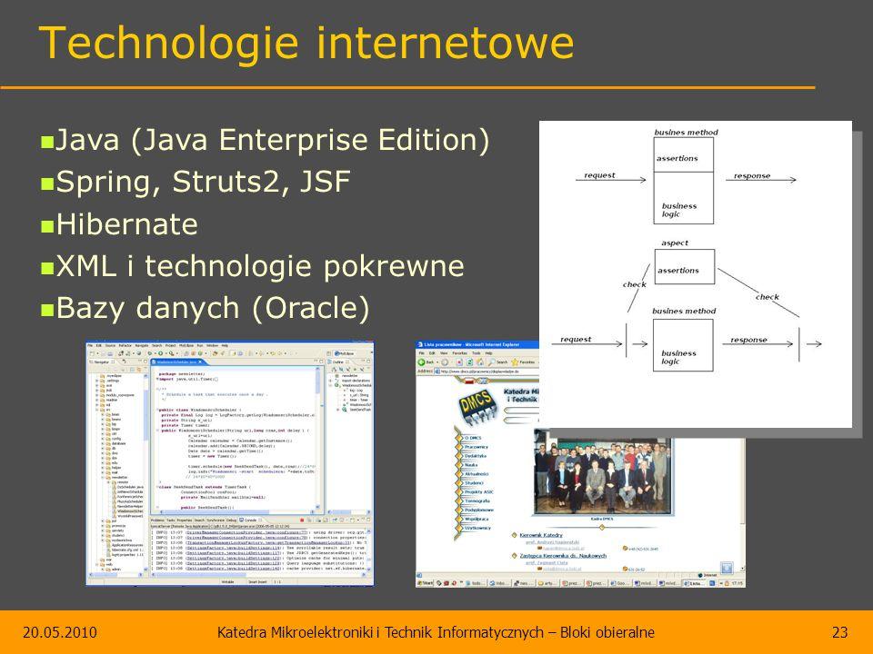 20.05.2010Katedra Mikroelektroniki i Technik Informatycznych – Bloki obieralne23 Technologie internetowe Java (Java Enterprise Edition) Spring, Struts2, JSF Hibernate XML i technologie pokrewne Bazy danych (Oracle)