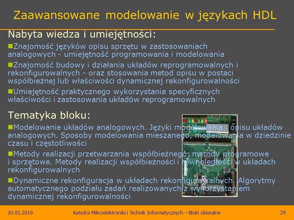 20.05.2010Katedra Mikroelektroniki i Technik Informatycznych – Bloki obieralne29 Zaawansowane modelowanie w językach HDL Tematyka bloku: Modelowanie u