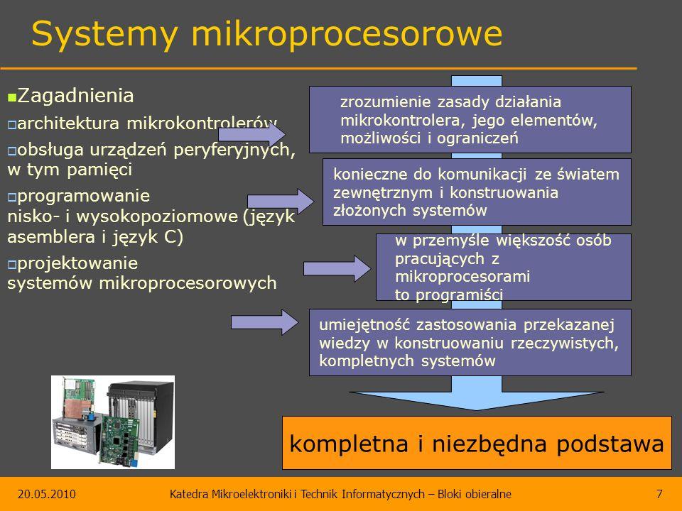 20.05.2010Katedra Mikroelektroniki i Technik Informatycznych – Bloki obieralne7 Systemy mikroprocesorowe Zagadnienia  architektura mikrokontrolerów  obsługa urządzeń peryferyjnych, w tym pamięci  programowanie nisko- i wysokopoziomowe (język asemblera i język C)  projektowanie systemów mikroprocesorowych zrozumienie zasady działania mikrokontrolera, jego elementów, możliwości i ograniczeń konieczne do komunikacji ze światem zewnętrznym i konstruowania złożonych systemów w przemyśle większość osób pracujących z mikroprocesorami to programiści umiejętność zastosowania przekazanej wiedzy w konstruowaniu rzeczywistych, kompletnych systemów kompletna i niezbędna podstawa