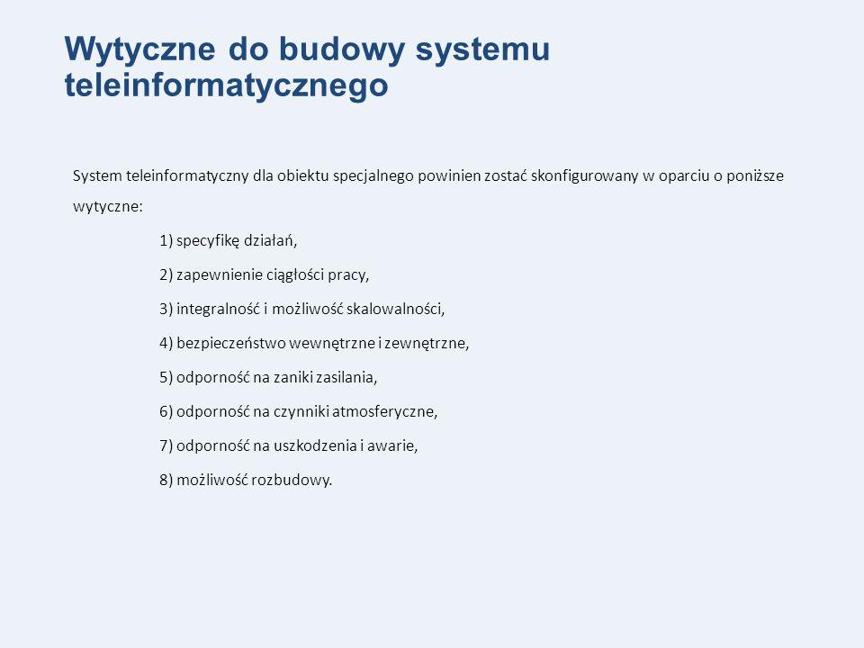 Wytyczne do budowy systemu teleinformatycznego System teleinformatyczny dla obiektu specjalnego powinien zostać skonfigurowany w oparciu o poniższe wytyczne: 1) specyfikę działań, 2) zapewnienie ciągłości pracy, 3) integralność i możliwość skalowalności, 4) bezpieczeństwo wewnętrzne i zewnętrzne, 5) odporność na zaniki zasilania, 6) odporność na czynniki atmosferyczne, 7) odporność na uszkodzenia i awarie, 8) możliwość rozbudowy.