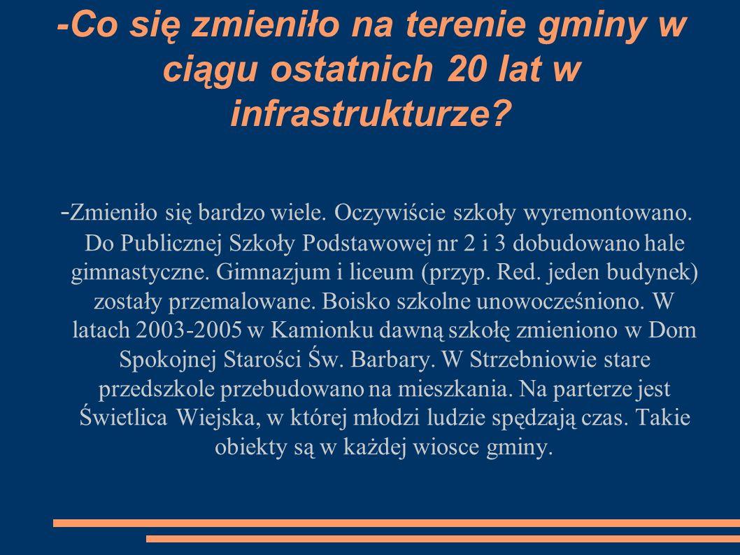 -Co się zmieniło na terenie gminy w ciągu ostatnich 20 lat w infrastrukturze.
