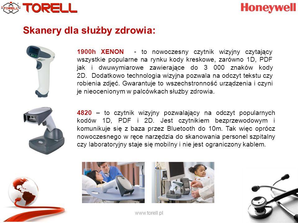 www.torell.pl Skanery dla służby zdrowia: 1900h XENON - to nowoczesny czytnik wizyjny czytający wszystkie popularne na rynku kody kreskowe, zarówno 1D, PDF jak i dwuwymiarowe zawierające do 3 000 znaków kody 2D.