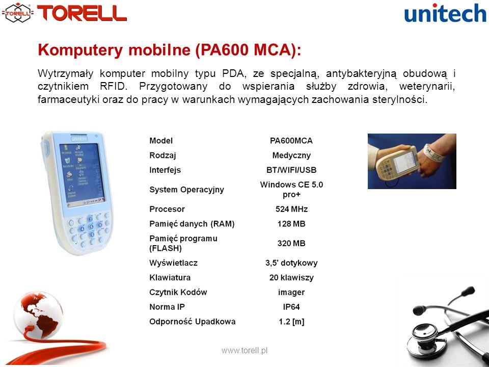 www.torell.pl Komputery mobilne (Dolphin 9700hc): Nowoczesny terminal typu PDA ze specjalną, antybakteryjną obudową do zastosowań wymagających zachowania sterylności.