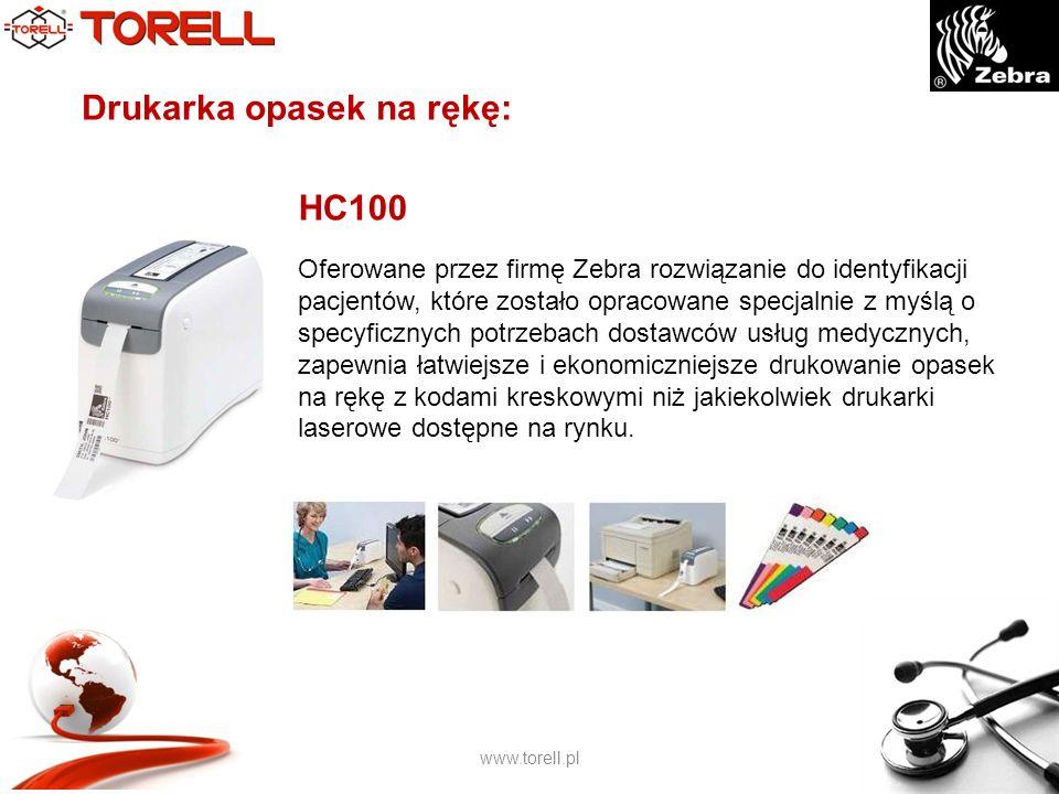 www.torell.pl Drukarka opasek na rękę: Oferowane przez firmę Zebra rozwiązanie do identyfikacji pacjentów, które zostało opracowane specjalnie z myślą o specyficznych potrzebach dostawców usług medycznych, zapewnia łatwiejsze i ekonomiczniejsze drukowanie opasek na rękę z kodami kreskowymi niż jakiekolwiek drukarki laserowe dostępne na rynku.