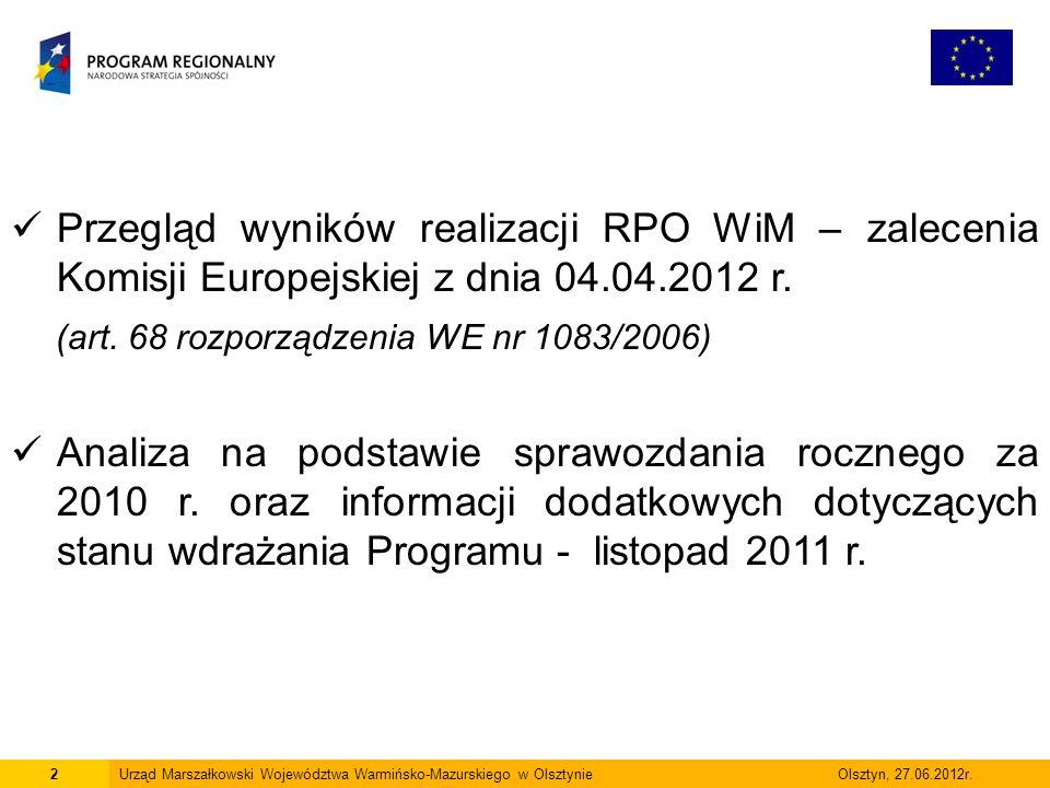 2 Przegląd wyników realizacji RPO WiM – zalecenia Komisji Europejskiej z dnia 04.04.2012 r. (art. 68 rozporządzenia WE nr 1083/2006) Analiza na podsta
