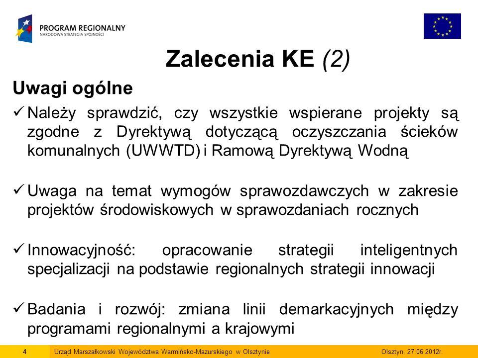 4Urząd Marszałkowski Województwa Warmińsko-Mazurskiego w Olsztynie Olsztyn, 27.06.2012r. Uwagi ogólne Należy sprawdzić, czy wszystkie wspierane projek
