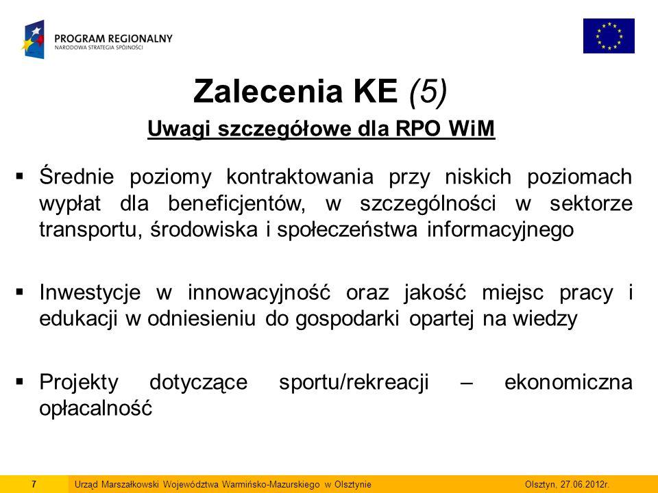 7Urząd Marszałkowski Województwa Warmińsko-Mazurskiego w Olsztynie Olsztyn, 27.06.2012r.  Średnie poziomy kontraktowania przy niskich poziomach wypła