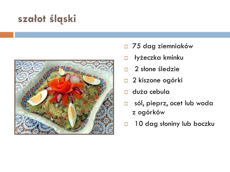 szałot śląski  75 dag ziemniaków  łyżeczka kminku  2 słone śledzie  2 kiszone ogórki  duża cebula  sól, pieprz, ocet lub woda z ogórków  10 dag słoniny lub boczku
