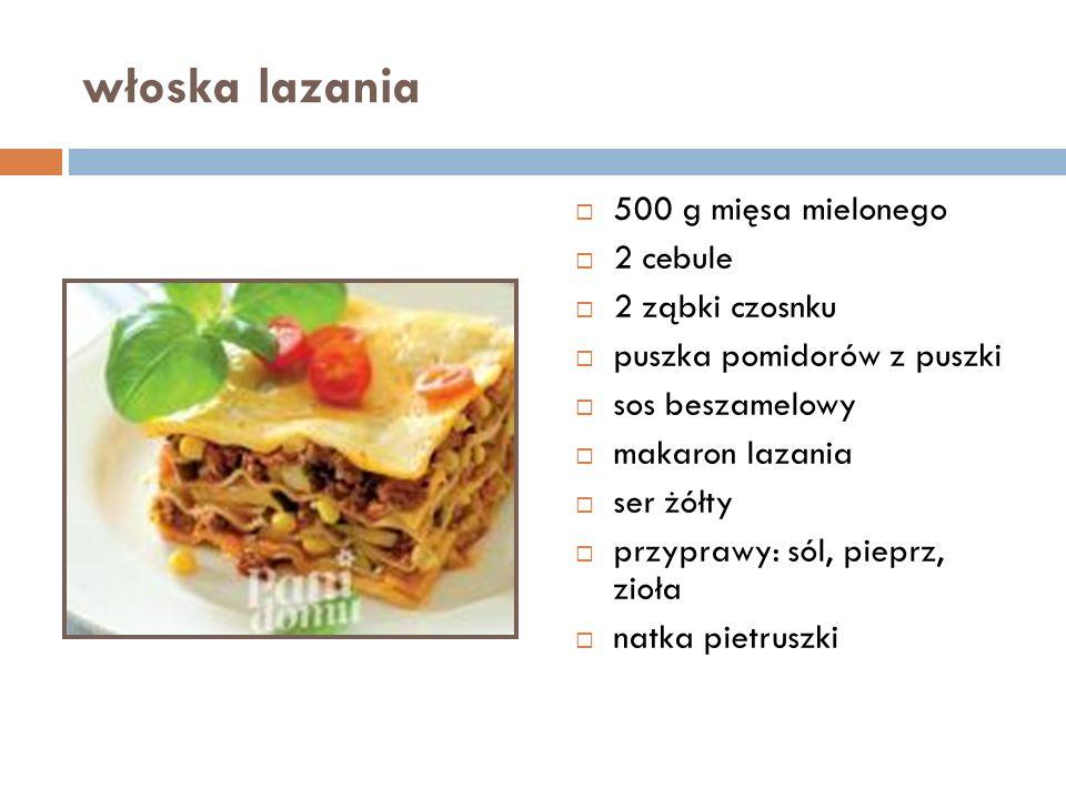 włoska lazania  500 g mięsa mielonego  2 cebule  2 ząbki czosnku  puszka pomidorów z puszki  sos beszamelowy  makaron lazania  ser żółty  przyprawy: sól, pieprz, zioła  natka pietruszki