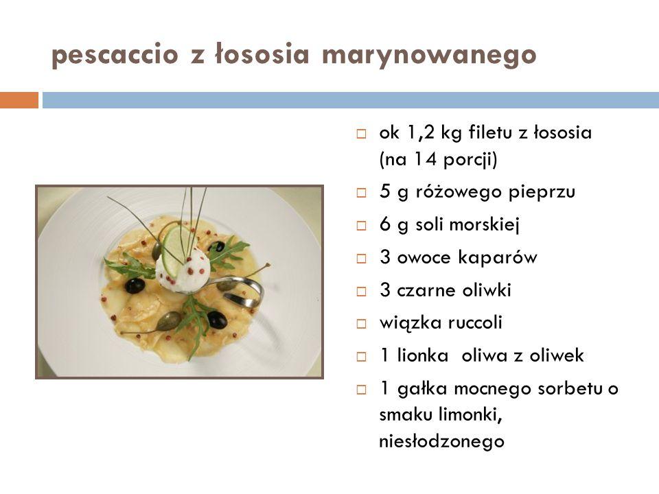 pescaccio z łososia marynowanego  ok 1,2 kg filetu z łososia (na 14 porcji)  5 g różowego pieprzu  6 g soli morskiej  3 owoce kaparów  3 czarne oliwki  wiązka ruccoli  1 lionka oliwa z oliwek  1 gałka mocnego sorbetu o smaku limonki, niesłodzonego