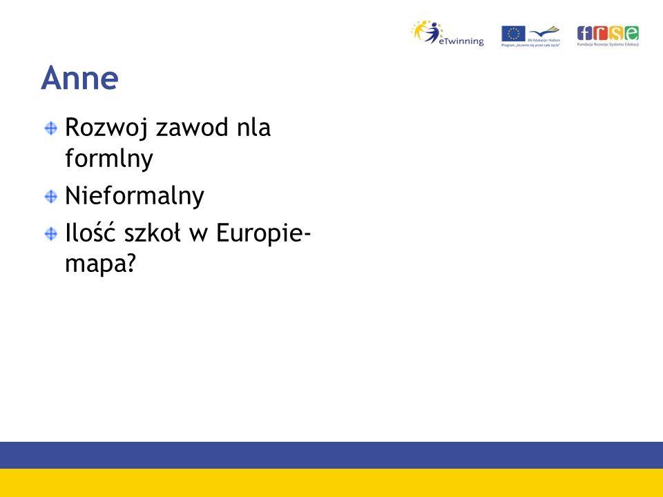 Anne Rozwoj zawod nla formlny Nieformalny Ilość szkoł w Europie- mapa