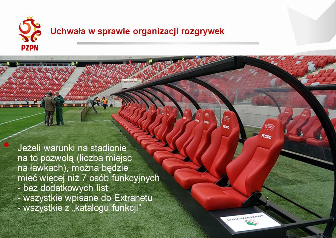 """Rewolucja 2016/17 Uchwała w sprawie organizacji rozgrywek 2016-09-19 Jeżeli warunki na stadionie na to pozwolą (liczba miejsc na ławkach), można będzie mieć więcej niż 7 osób funkcyjnych - bez dodatkowych list - wszystkie wpisane do Extranetu - wszystkie z """"katalogu funkcji"""