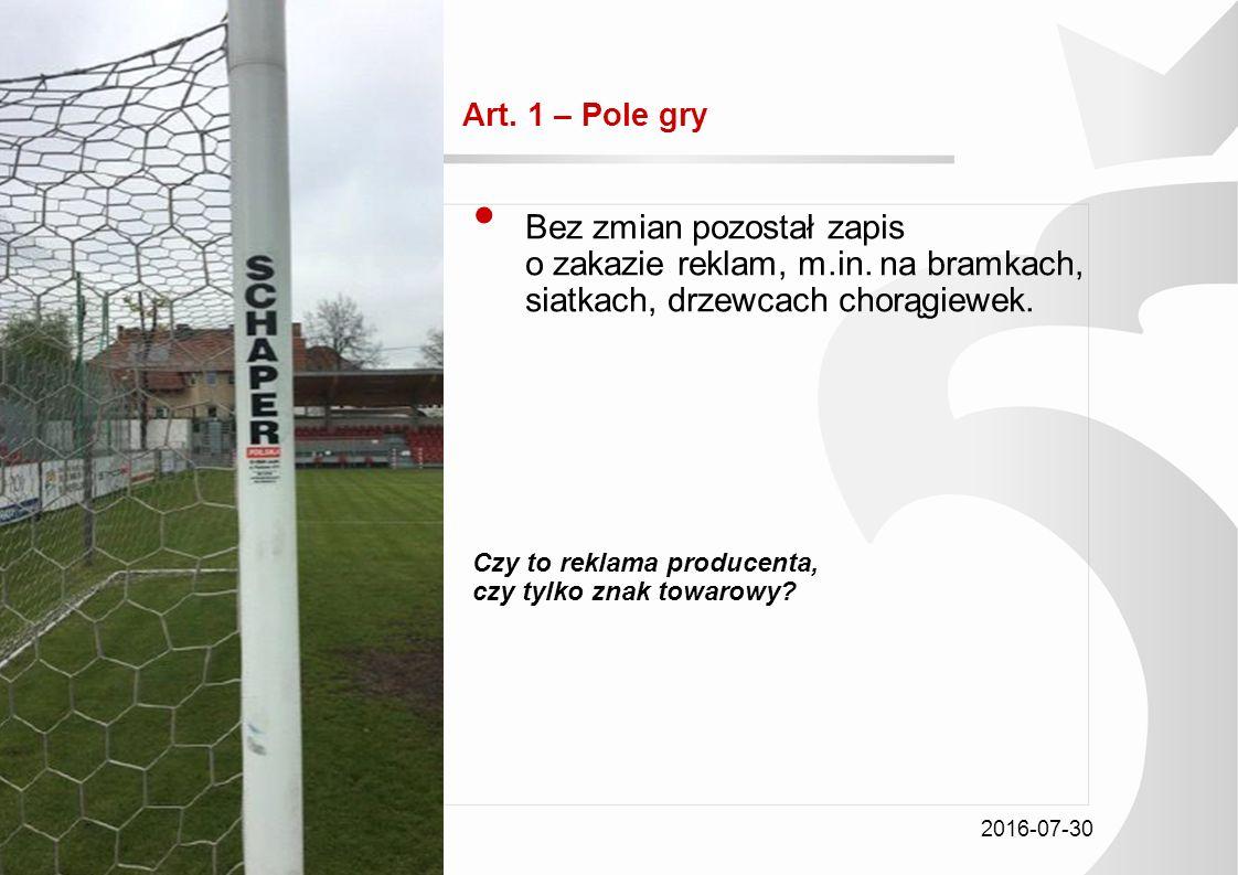 2016-07-30 Tytuł prezentacji Art.1 – Pole gry Bez zmian pozostał zapis o zakazie reklam, m.in.
