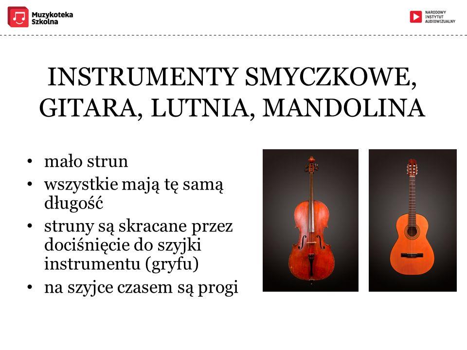 INSTRUMENTY SMYCZKOWE, GITARA, LUTNIA, MANDOLINA mało strun wszystkie mają tę samą długość struny są skracane przez dociśnięcie do szyjki instrumentu