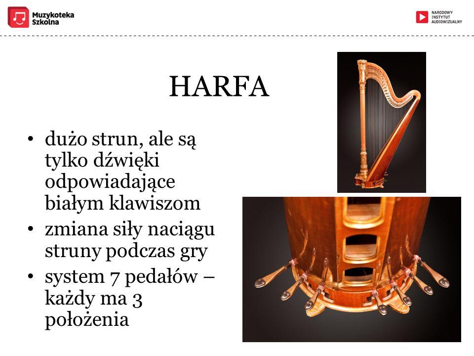 HARFA dużo strun, ale są tylko dźwięki odpowiadające białym klawiszom zmiana siły naciągu struny podczas gry system 7 pedałów – każdy ma 3 położenia