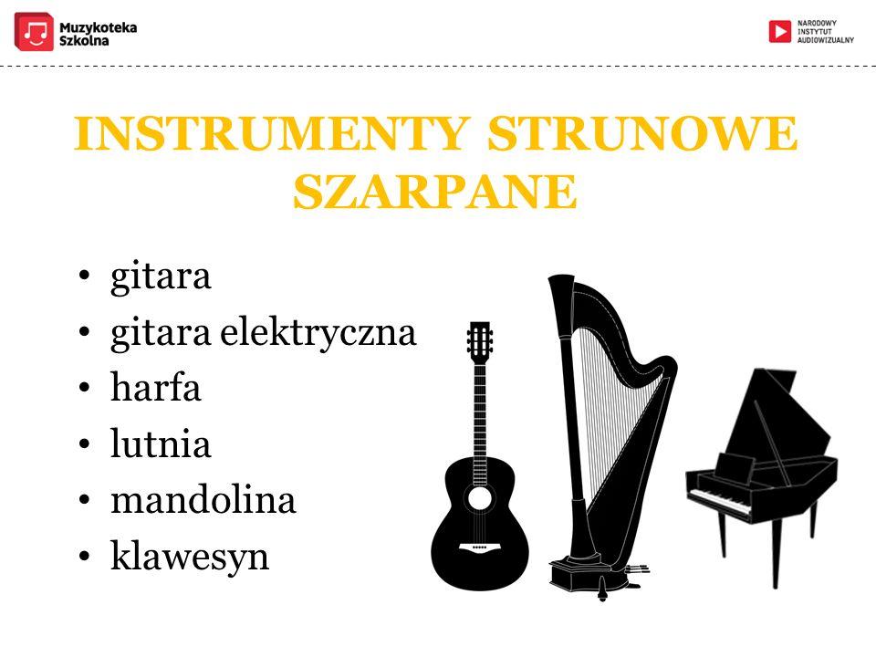 INSTRUMENTY STRUNOWE SZARPANE gitara gitara elektryczna harfa lutnia mandolina klawesyn