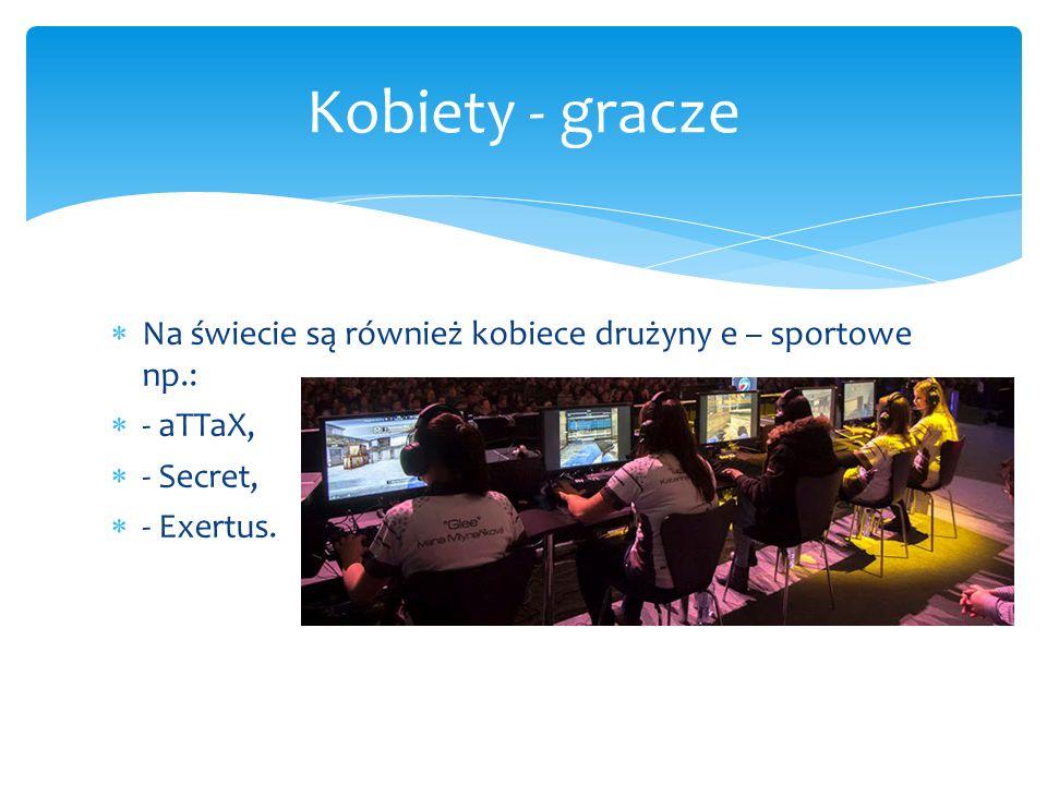  Na świecie są również kobiece drużyny e – sportowe np.:  - aTTaX,  - Secret,  - Exertus.