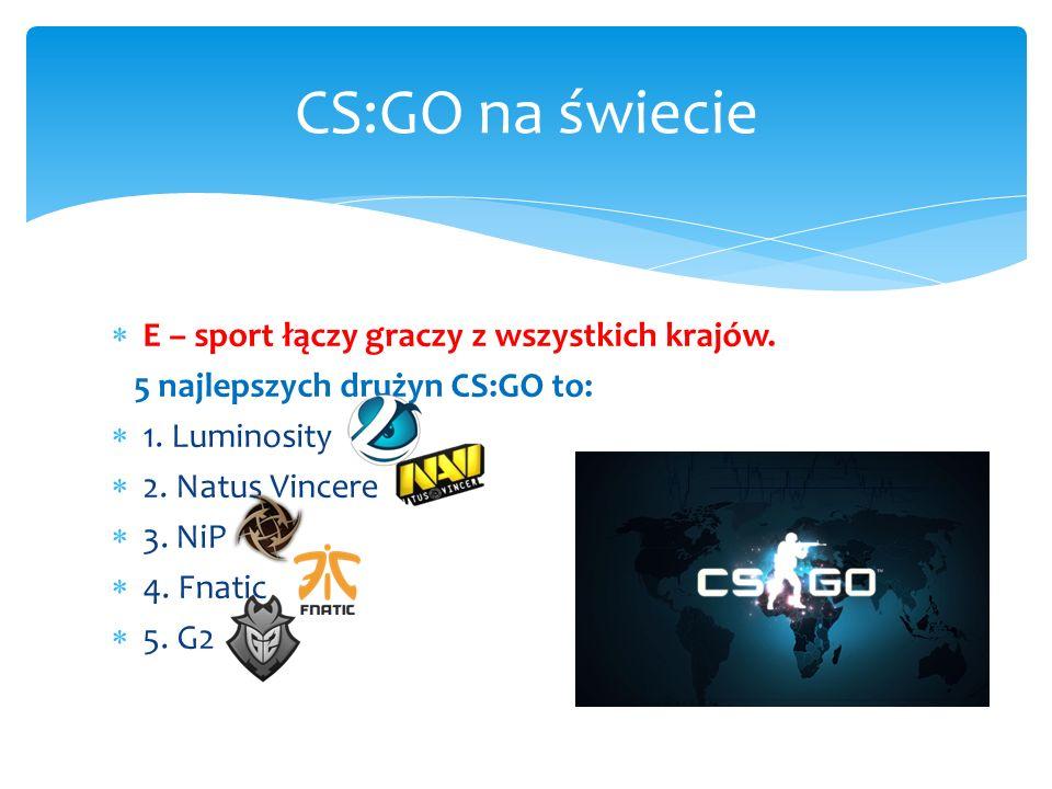  E – sport łączy graczy z wszystkich krajów. 5 najlepszych drużyn CS:GO to:  1.