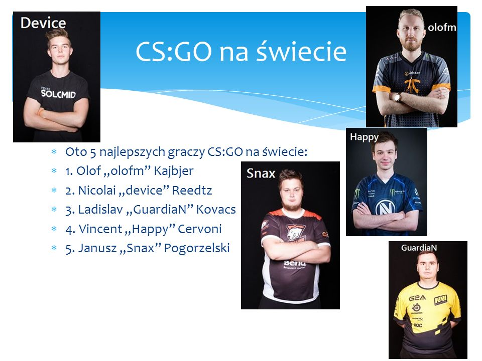 """ Oto 5 najlepszych graczy CS:GO na świecie:  1. Olof """"olofm Kajbjer  2."""