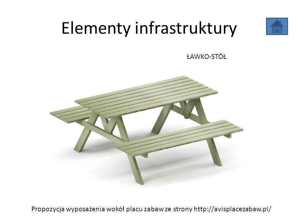 Elementy infrastruktury Propozycja wyposażenia wokół placu zabaw ze strony http://avisplacezabaw.pl/ ŁAWKO-STÓŁ