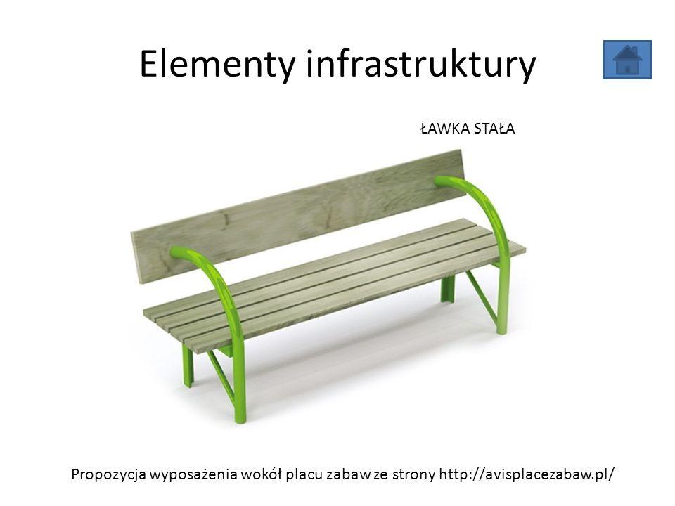 Elementy infrastruktury Propozycja wyposażenia wokół placu zabaw ze strony http://avisplacezabaw.pl/ ŁAWKA STAŁA