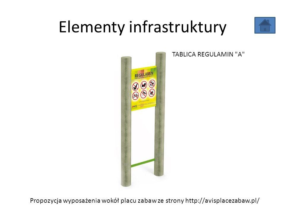 Elementy infrastruktury Propozycja wyposażenia wokół placu zabaw ze strony http://avisplacezabaw.pl/ TABLICA REGULAMIN
